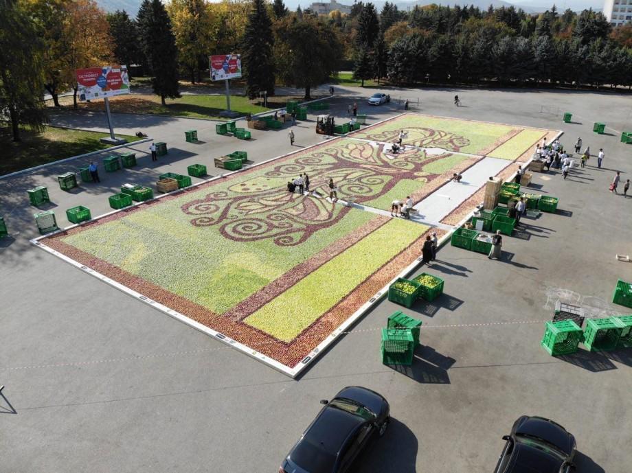 Главную площадь Нальчика украсило панно из 40 тонн яблок