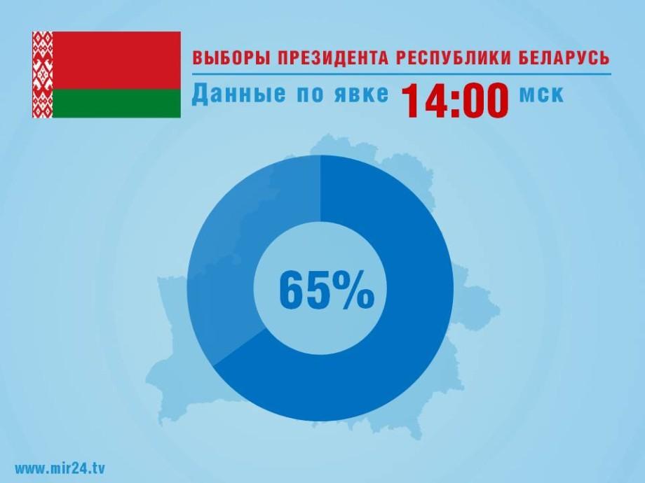 ЦИК: Явка на выборах президента Беларуси к 14:00 составила 65,19%