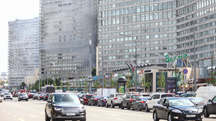 Пожар ввысотке наНовом Арбате потушили