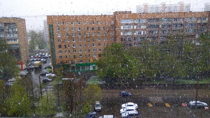 Москву в канун Дня Победы накрыл густой снегопад
