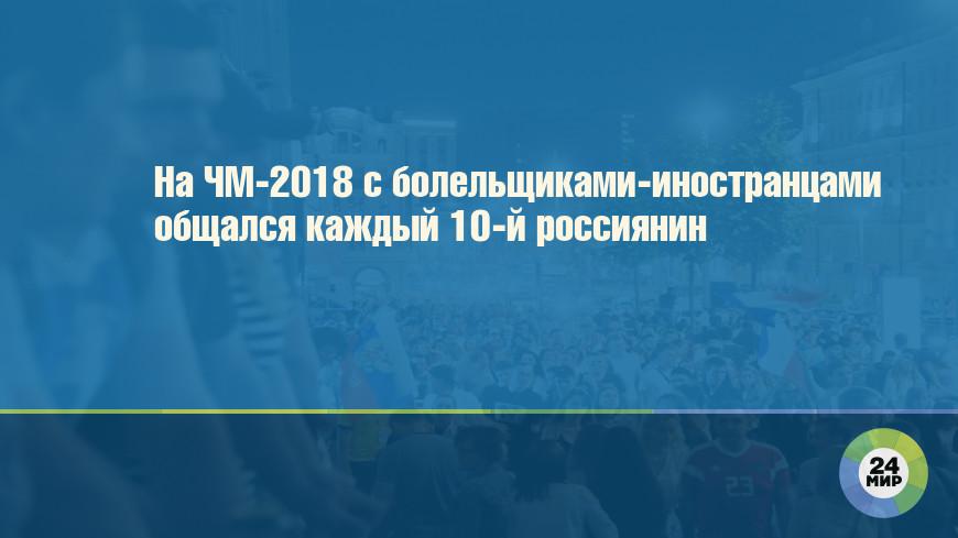 На ЧМ-2018 с болельщиками-иностранцами общался каждый 10-й россиянин