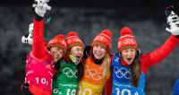 Герои Пхенчхана: в Минске встретили великолепную четверку биатлонисток