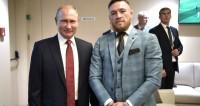 В перерыве финального матча чемпионата мира по футболу Владимир Путин пообщался с гостями турнира. С бойцом смешанных единоборств, ирландцем Конором Макгрегором.