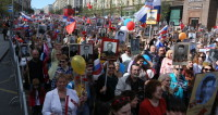 «Катюша» над Тверской: как проходит в Москве марш «Бессмертного полка»