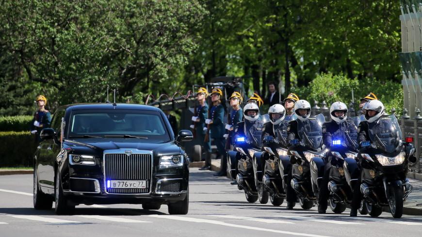 Путин выехал на инаугурацию на новом автомобиле проекта «Кортеж»