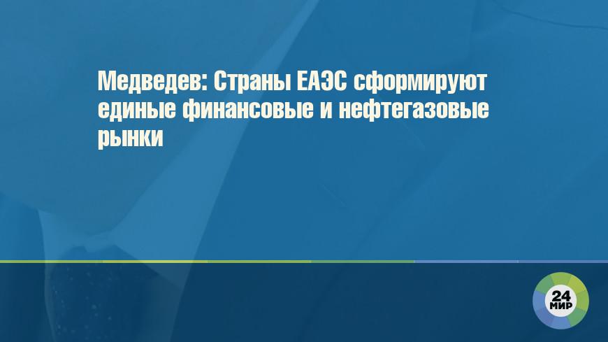 Медведев: Страны ЕАЭС сформируют единые финансовые и нефтегазовые рынки