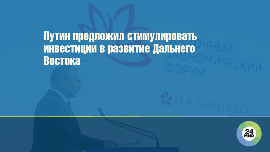 Путин предложил стимулировать инвестиции в развитие Дальнего Востока