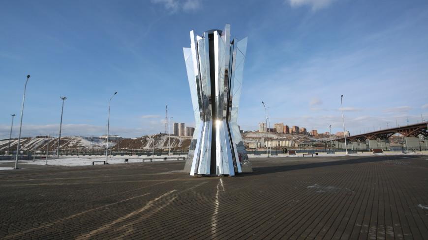В Красноярске установили 300-килограммовую чашу огня Универсиады