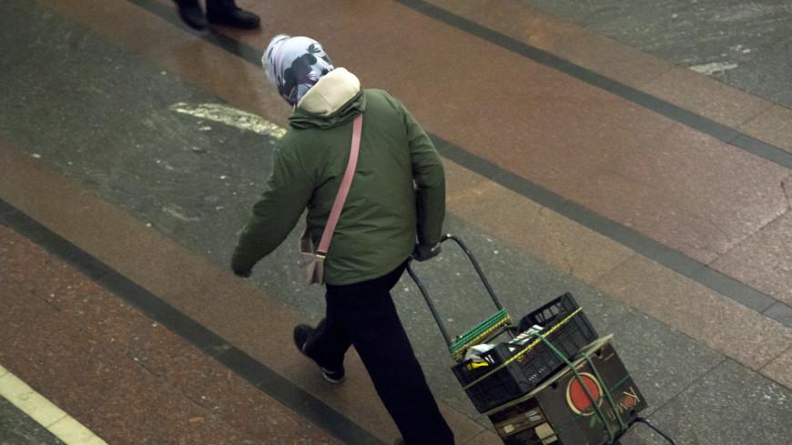 Московский метрополитен,,метро, метрополитен, бабушка, багаж, чемодан,