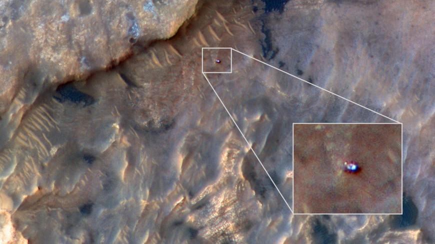 Опубликован снимок марсохода Curiosity с орбиты Марса