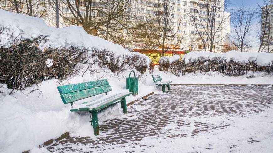 Зима в городе (снег, сугроб, холод, мороз, сквер, скамейка, аллея, монорельсовая дорога)