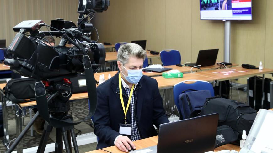 Журналисты готовятся к Ежегодной пресс-конференции Владимира Путина