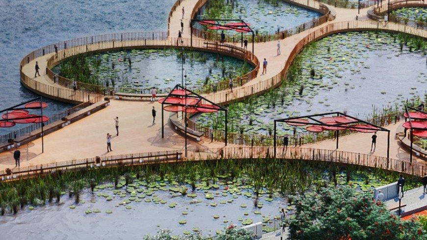 На набережной Марка Шагала в Москве построят сад на воде