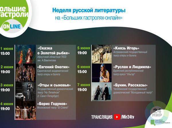 Разные эпохи и жанры: неделя русской литературы на «Больших гастролях-онлайн»