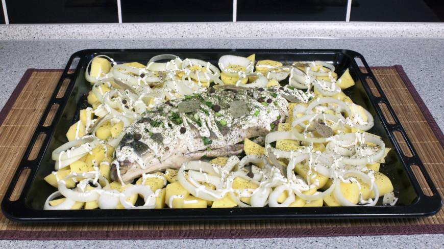 еда, продукты, морепродукты, готовить, готовка, рыба, запекать, духовка, питание, пища, рыба, картофель, противень