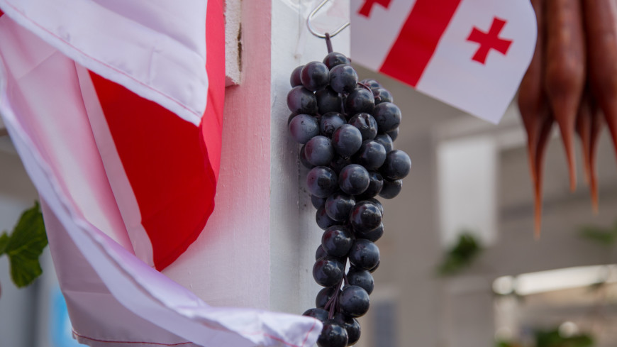 Фестиваль «Вся Грузия в одном Флаконе»,флаг Грузии, виноград, флаг, Грузия,