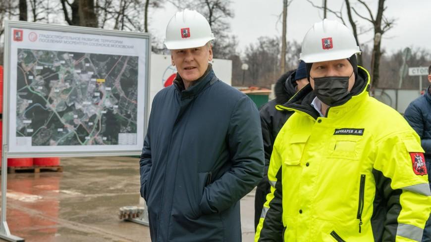 Собянин посетил стройплощадку станции метро «Славянский мир»