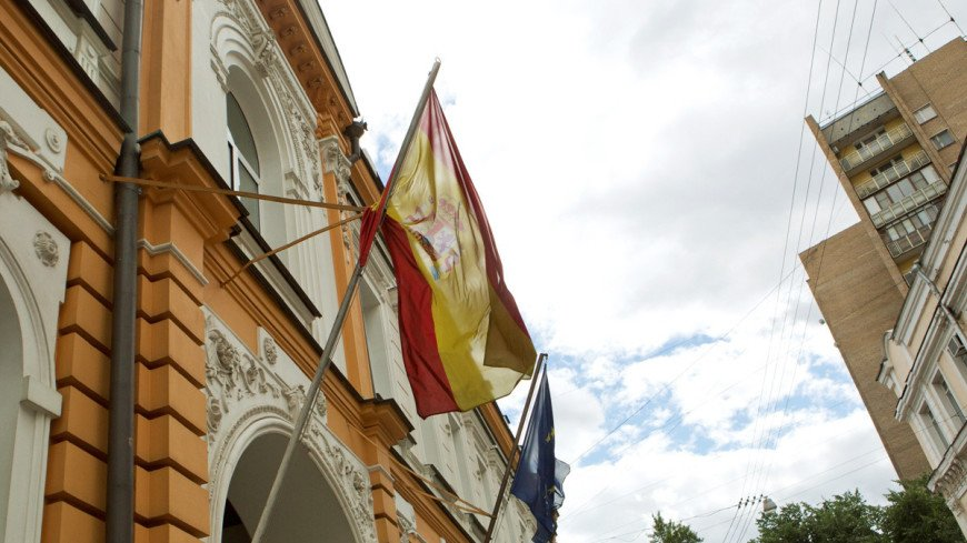 "Фото: Алан Кациев, ""«Мир24»"":http://mir24.tv/, флаг испании, посольство испании"