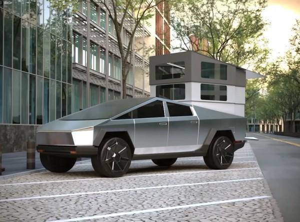 Илон Маск показал в деле прототип Cybertruck на строящемся заводе Tesla