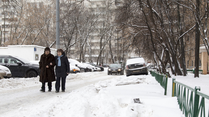 """Фото: Максим Кулачков, """"«Мир 24»"""":http://mir24.tv/, прогулка, зима, заснеженная москва, снегопад, снег, метель, снежный город, сугробы, дорога в снегу, бабушки"""