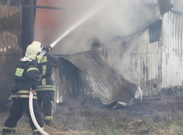 В Подмосковье ангар охватил пожар на площади 1,5 тысячи кв метров