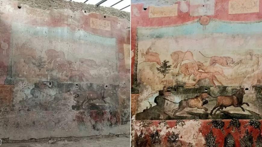 Археологи воссоздали в Помпеях уникальную фреску на тему охоты
