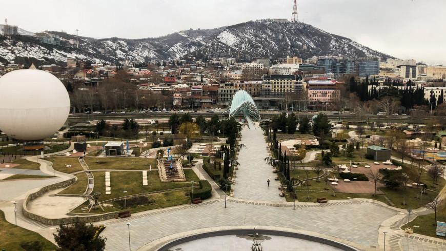 тбилиси, грузия, панорама, город, улица, мост мира,
